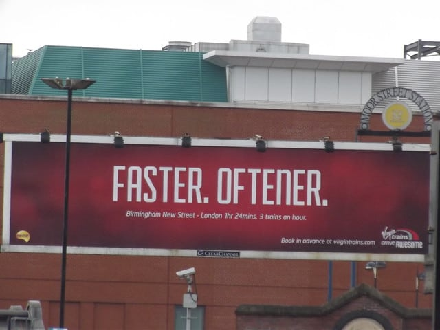 A great Virgin ad in Birmingham New Street. Only a copywriter would love this!