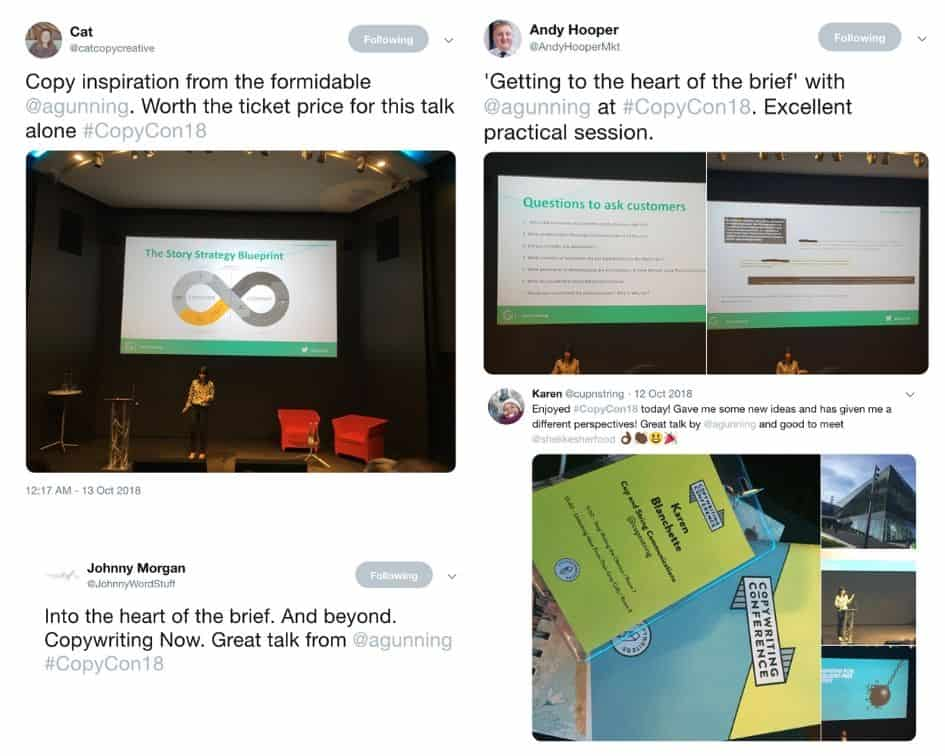 The Copywriting Brief - praise from conference attendees